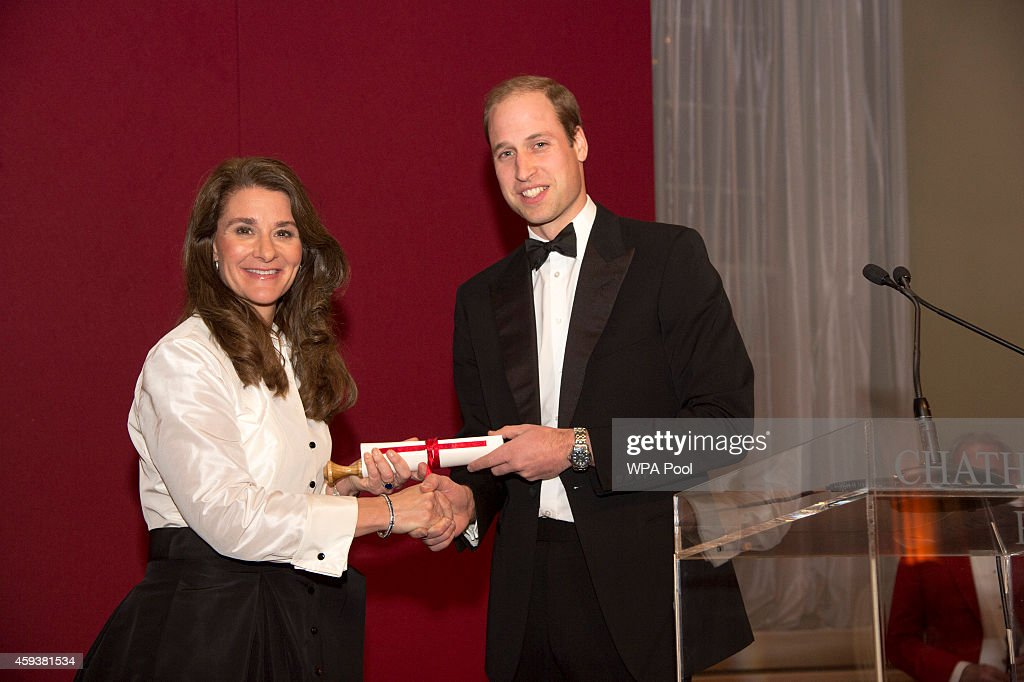 Prince William,Duke of Cambridge visits RUSI (Royal United Services Institute) and presented the Chatham House (The Royal Institute of International Affairs) Prize 2014 to Melinda Gates in the Banqueting House on November 21, 2014 in London, England.