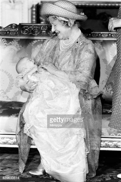 Prince William's Christening the Queen Mother holding Prince William 4th August 1982