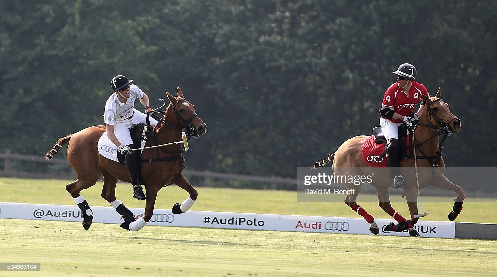 Prince Willima the Duke of Cambridge and Rico Richert attendday one of the Audi Polo Challenge at Coworth Park on May 28, 2016 in London, England.