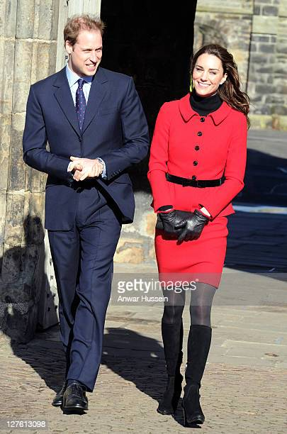 Prince Willliam and Kate Middleton return to the University of St Andrews to launch a fundraising campaign on February 25 2011 in St Andrews Scotland