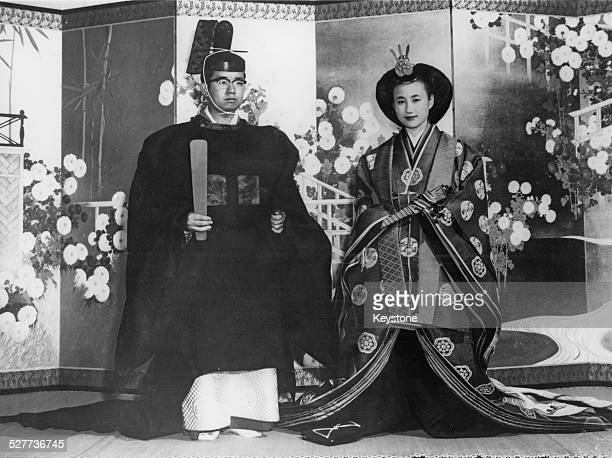 Prince Yoshi the youngest son of Emperor Hirohito marries Hanako Tsugaru Japan 30th September 1964 Here they are pictured in their ancient ceremonial...