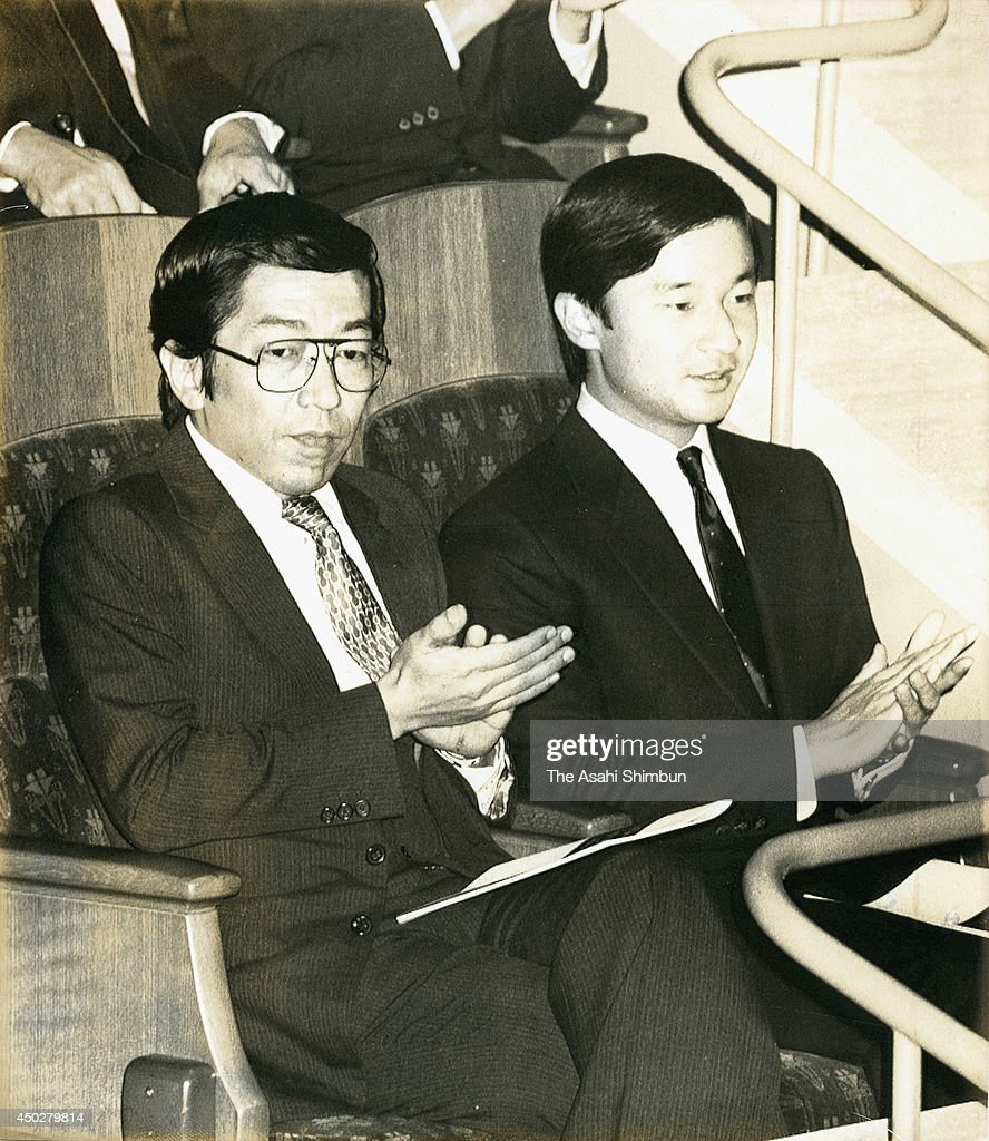 Prince Yoshihito (L), or Prince Katsura and Prince Naruhito attend the Melbourne Symphony Orchestra concert at Suntory Hall on October 23, 1987 in Tokyo, Japan. The prince, second son of Prince Mikasa and cousin of Emperor Akihito, passed away at the age of 66.
