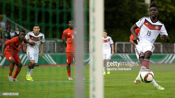 PrinceOsei Owusu of Germany scores his team's first goal by a penalty during the U19 international friendly match between Germany and England on...