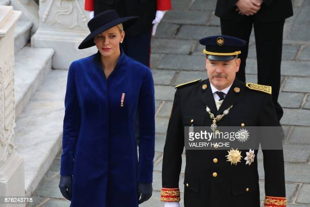 Prince's Albert II of Monaco and Princess Charlene of Monaco arrive to attend the Monaco National Day celebrations at the Monaco Palace on November...