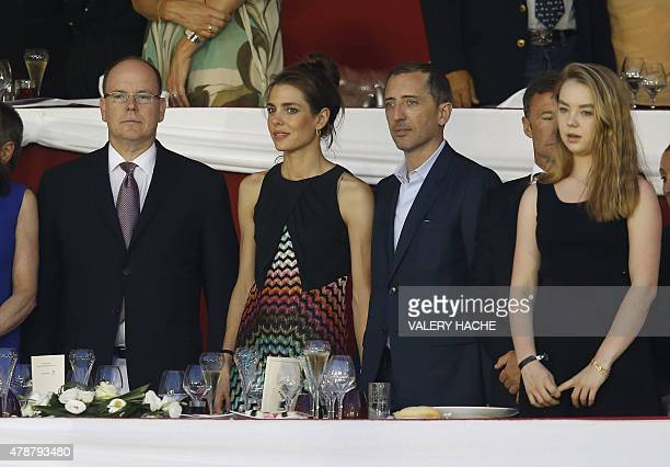 Prince's Albert II of Monaco Charlotte Casiraghi and French humorist and actor Gad Elmaleh and Princess Alexandra attend at the 2015 edition of the...