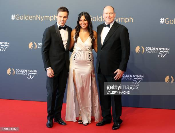 Prince's Albert II of Monaco poses with Louis Ducruet son of Princess Stephanie of Monaco and Marie Chevallier during the closing ceremony of the...