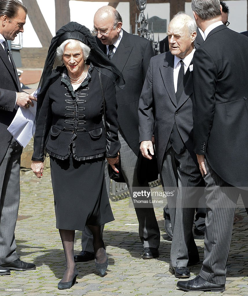 Princes Alexandra of Hannover and Prince Wittekind zu Waldeck and Pyrmont attends the funeral service for Moritz Landgrave of Hesse at St. Johann church at Kronberg on June 3, 2013 in Kronberg, Germany. Moritz of Hesse died at the age of 86 years at May 23 in Frankfurt. He was as great-grandson of the emperor Frederick III. and great-grandson of Queen Victoria related to many European royal houses. The english and the dutch Royal House sent Representatives to the funeral service at Kronberg.