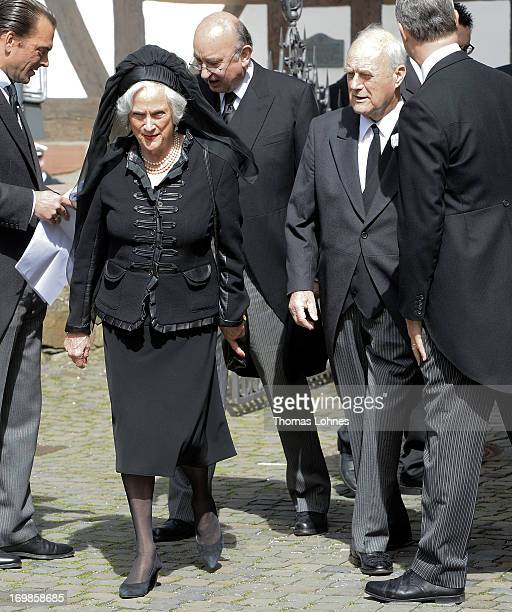 Princes Alexandra of Hannover and Prince Wittekind zu Waldeck and Pyrmont attends the funeral service for Moritz Landgrave of Hesse at St Johann...
