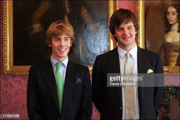 Princes Ernst August Junior and Christian sons of Prince Ernst August in front of the castle The Marienburg Castle near Hanover Germany will be the...