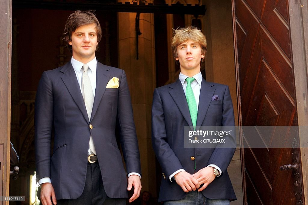 Princes Ernst August Junior and Christian, sons of Prince Ernst August in front of the castle - The Marienburg Castle, near Hanover, Germany, will be the scene of an exceptional international auction - In Autumn, 2005 - Prince Ernst-August of Hanover -born in 1983, and eldest son of the present head of the House Hanover, took over his family's German properties in 2004 - Last year he and his younger brother, Prince Christian -born in 1985- took the decision to hold an auction, whose proceeds will be put towards establishing a family trust which will help to maintain the family's art collection in Germany - As a result of the sale, the Fürstenhaus in Hanover-Herrenhausen and the Schloss Marienburg, will be able to remain open to the public and properly maintained in Hanover, Germany on April 28th, 2005.