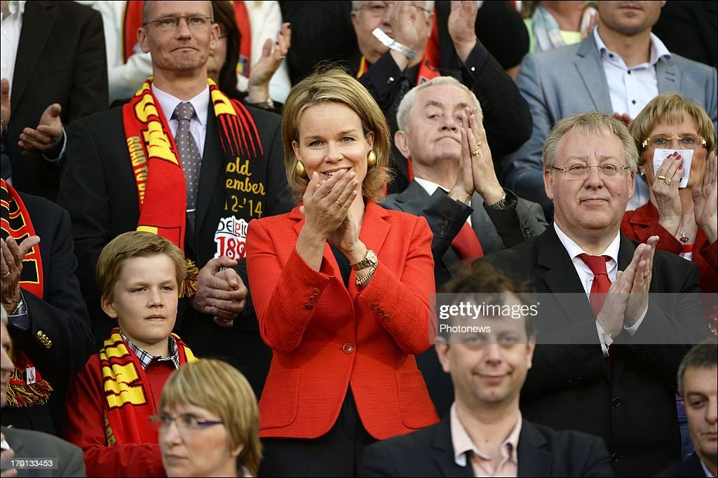 Princes Mathilde applauds during the FIFA 2014 World Cup Group A qualifying match between Belgium and Serbia at the King Baudouin stadium on June 07, 2013 in Brussels, Belgium. .