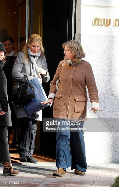 Princes Nora of Liechtenstein and her niece Princess Tatjana of Liechtenstein are seen on November 28 2013 in Madrid Spain