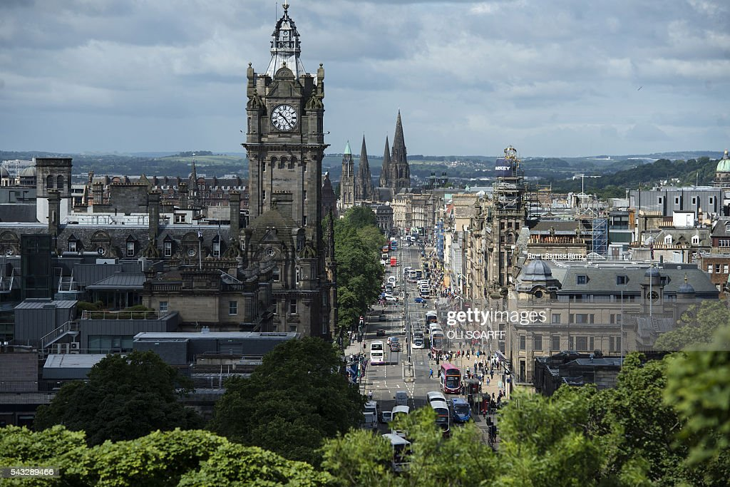 Princes Street is pictured from Calton Hill in the centre of Edinburgh, Scotland on June 27, 2016. British leaders battled to calm markets and the country Monday after its shock vote to leave the EU, while insisting London would be not rushed into a quick divorce. Britain's historic decision to be the first country to leave the 28-nation bloc has fuelled fears of a break-up of the United Kingdom with Scotland eyeing a new independence poll, and created turmoil in the opposition Labour party where leader Jeremy Corbyn is battling an all-out revolt. / AFP / OLI