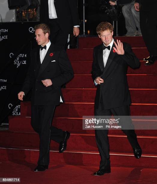 Princes William and Harry arrive for the World premiere of 'Quantum Of Solace' at the Odeon Leicester Square WC2