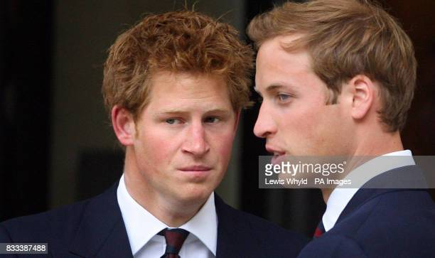 Princes William and Harry leave the Service of Thanksgiving for the life of Diana Princess of Wales at the Guards' Chapel London