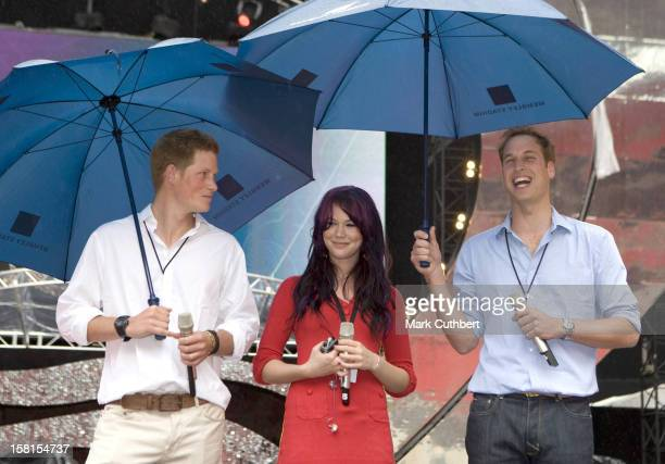 Prince'S William Harry Accompanied By Joss Stone Attend A Rehearsal Prior To The Concert For Diana At Wembley Stadium