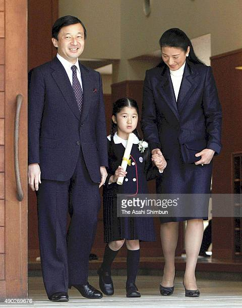 Princess Aiko along with Crown Prince Naruhito and Crown Princess Masako is seen prior to attend the graduation ceremony of the Gakushuin...