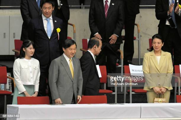 Princess Aiko Crown Prince Naruhito and Crown Princess Masako attend a wheelchair basketball match at the Tokyo Metropolitan Gymnasium on May 5 2017...