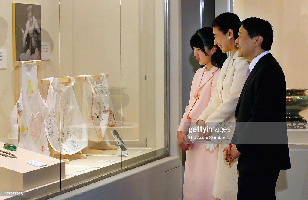 Princess Aiko Crown Princess Masako and Crown Prince Naruhito visit the special exhibition to celebrate Empress Michiko's 80th birthday at...