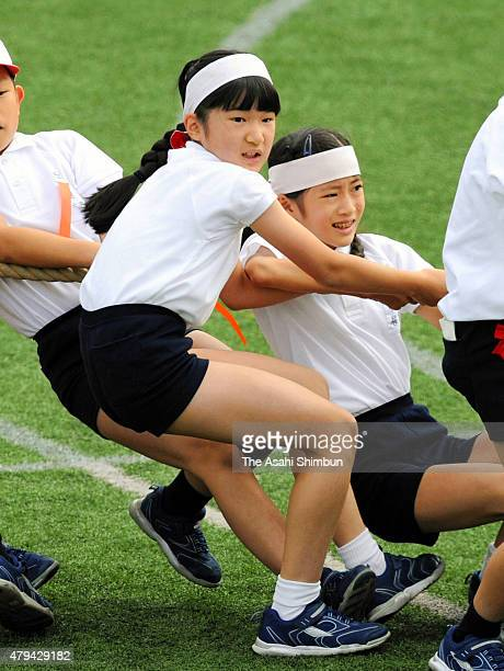 Princess Aiko takes part in a tugofwar during the Gakushuin Elementary School athletic festival on October 8 2011 in Tokyo Japan
