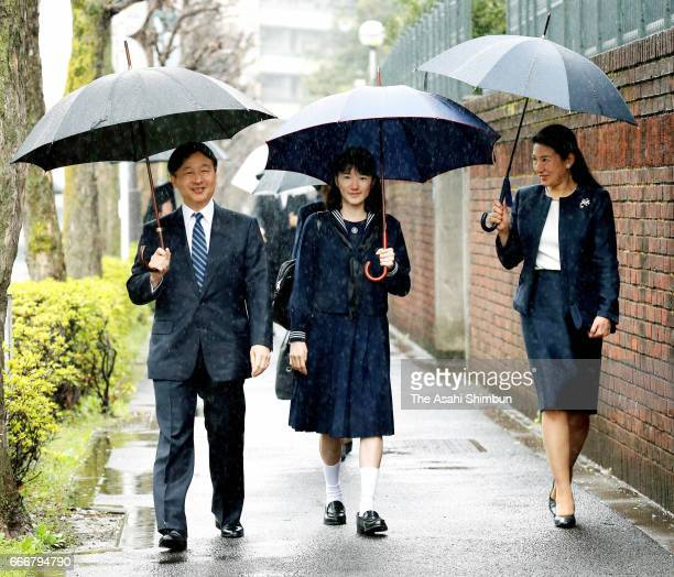 Princess Aiko walks with her parents Crown Prince Naruhito and Crown Princess Masako ahead of the entrance ceremony at the Gakushuin Girls' Senior...