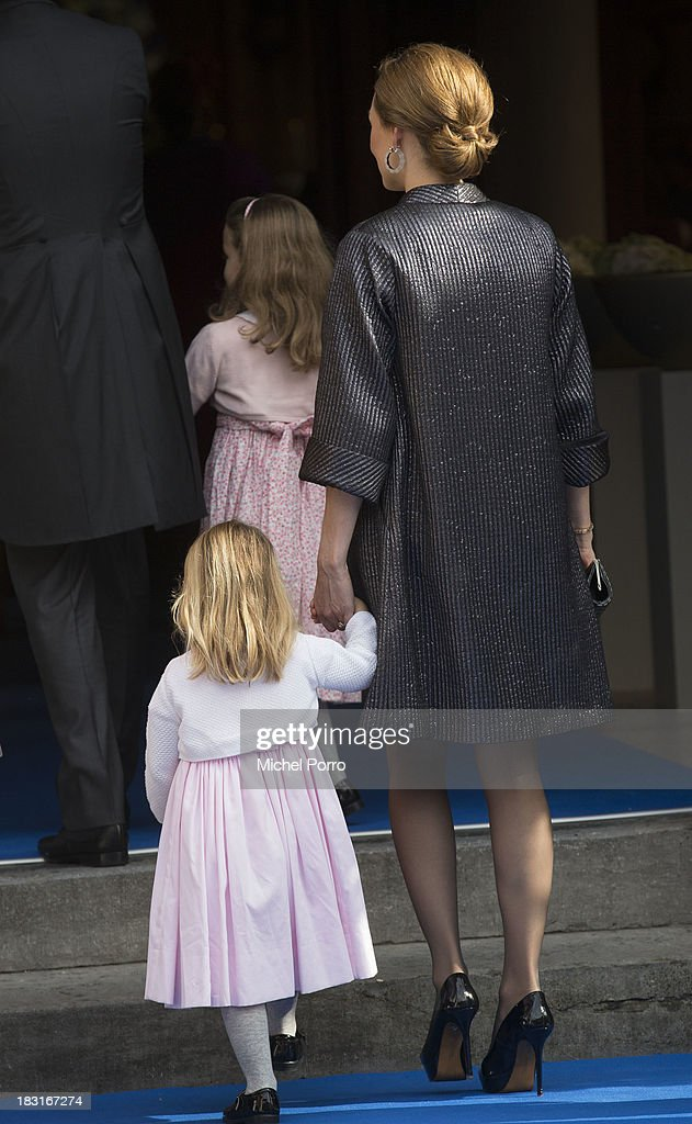 Princess Aimee, Princess Eliane and princess Magali attend the wedding of Prince Jaime de Bourbon Parme and Viktoria Cservenyak at The Church Of Our Lady At Ascension on October 5, 2013 in Apeldoorn, Netherlands.