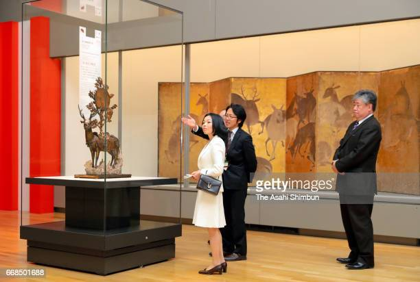 Princess Akiko of Mikasa visit the 'Eternal Treasures from Kasugataisha Shrine' exhibition at the Tokyo National Museum on March 7 2017 in Tokyo Japan