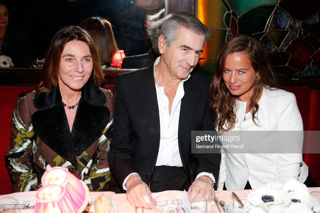 Princess Alessandra Borghese, Bernard-Henri Levy and attends Pierre Pelegry's birthday party at Maxim's on March 1, 2013 in Paris, France.