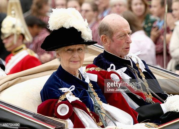 Princess Alexandra and Prince Edward Duke of Kent travel by carriage after the Most Noble Order of the Garter Ceremony on June 16 2014 in Windsor...