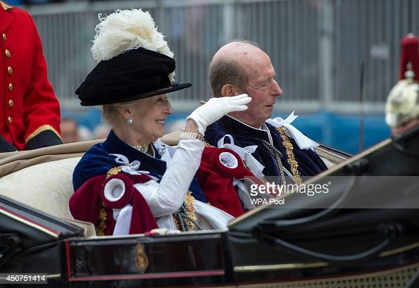 Princess Alexandra and the Prince Edward Duke of Kent travels by carriage after the Most Noble Order of the Garter Ceremony on June 16 2014 in...