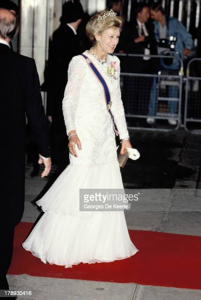 Princess Alexandra attends the State Banquet given by Former Polish President Lech Walesa in honor of the Queen on April 25 1991 in London England