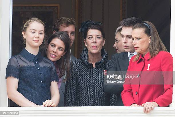 Princess Alexandra Charlotte Casiraghi Princes Caroline Louis Ducruet and Princess Stephanie appear at the balcony of Monaco Palace for Monaco...