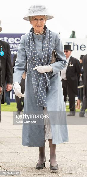 Princess Alexandra Lady Ogilvy arrives at The Investec Derby Festival at Epsom Racecourse on June 4 2016 in Epsom England