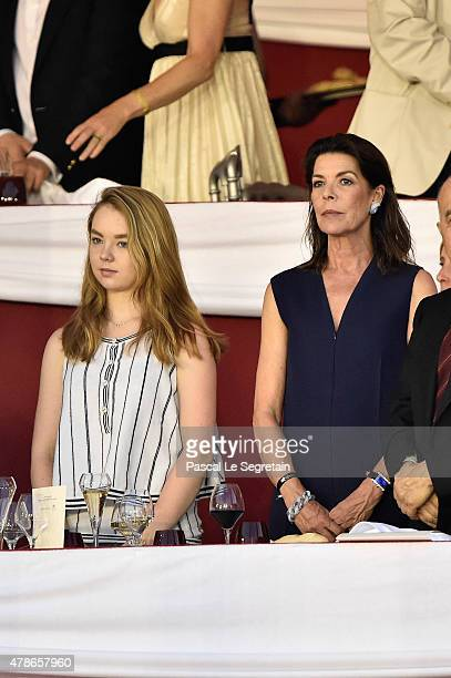 Princess Alexandra of Hanover and Caroline of Hanover attend the Longines ProAm Cup Monaco during the 10th International MonteCarlo Jumping on June...