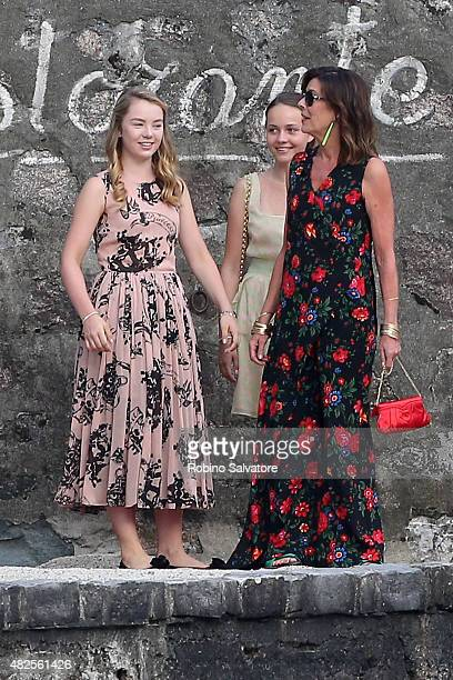Princess Alexandra of Hanover and Princess Caroline of Hanover are sighted during the wedding celebrations of Pierre Casiraghi and Beatrice Borromeo...