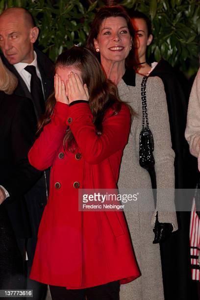 Princess Alexandra of Hanover and Princess Caroline of Hanover attend the Ceremony Of The SainteDevote on January 26 2012 in Monaco Monaco