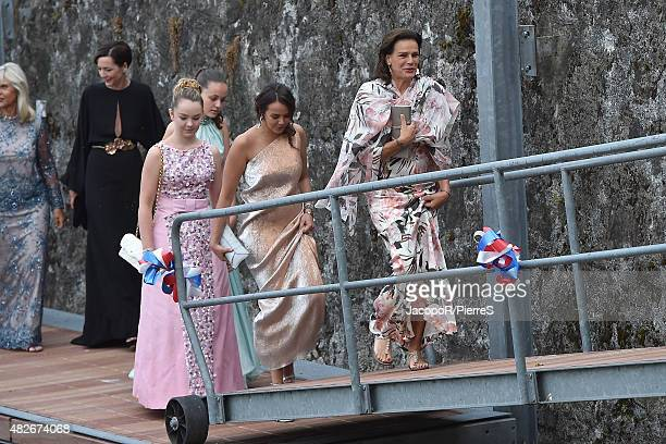 Princess Alexandra of Hanover Pauline Ducruet and Princess Stephanie of Monaco are seen on August 1 2015 in ANGERA Italy
