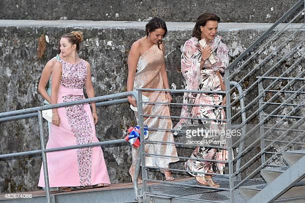 Princess Alexandra of Hanover Pauline Ducruet and Princess Stephanie of Monaco are seen on August 1 2015 in ANGERA Italy