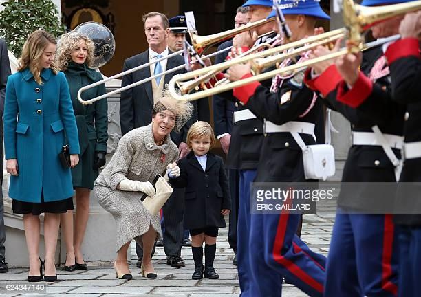Princess Alexandra of Hanover Princess Caroline of Hanover and Andrea Casiraghi's son Sacha attend the celebrations marking Monaco's National Day at...