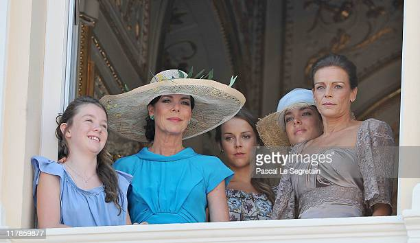 Princess Alexandra of Hanover Princess Caroline of Hanover Pauline Ducruet Charlotte Casiraghi and Princess Stephanie of Monaco attend the civil...