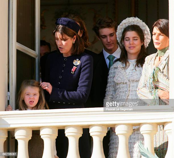 LR Princess Alexandra of Hanover Princess Caroline of Hanover Pierre Casiraghi Charlotte Casiraghi and Princess Stephanie of Monaco watch the...