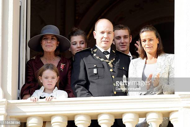 Princess Alexandra of Hanover Princess Caroline of Hanover Prince Albert II of Monaco Pierre Casiraghi Charlotte Casiraghi and Princess Stephanie of...
