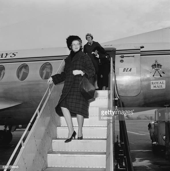 Princess Alexandra of Kent arriving at an airport 1960