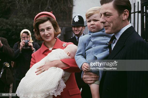 Princess Alexandra of Kent The Honourable Lady Ogilvy pictured holding her newborn daughter Marina Victoria Alexandra Ogilvy alongside her husband...