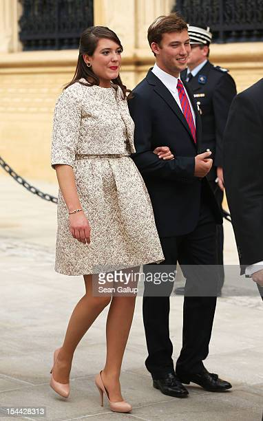 Princess Alexandra of Luxembourg and Prince Sebastien of Luxembourg walk back after the civil ceremony for the wedding of Prince Guillaume Of...