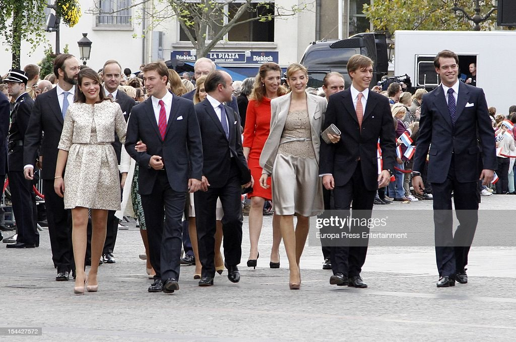 Princess Alexandra of Luxembourg, <a gi-track='captionPersonalityLinkClicked' href=/galleries/search?phrase=Prince+Louis+of+Luxembourg&family=editorial&specificpeople=674475 ng-click='$event.stopPropagation()'>Prince Louis of Luxembourg</a>, <a gi-track='captionPersonalityLinkClicked' href=/galleries/search?phrase=Princess+Tessy+of+Luxembourg&family=editorial&specificpeople=7064107 ng-click='$event.stopPropagation()'>Princess Tessy of Luxembourg</a>, Prince Sebastien of Luxembourg after the civil ceremony for the wedding of Prince Guillaume Of Luxembourg and Stephanie de Lannoy at the Hotel De Ville on October 19, 2012 in Luxembourg, Luxembourg The 30-year-old hereditary Grand Duke of Luxembourg is the last hereditary Prince in Europe to get married, marrying his 28-year old Belgian Countess bride in a lavish 2-day ceremony.