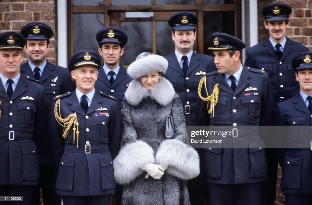 Princess Alexandra posing with officers of the Queens Flight on January 12, 1983 during a visit to the RAF base. The Queens Flight is based at RAF Benson in Oxfordshire.