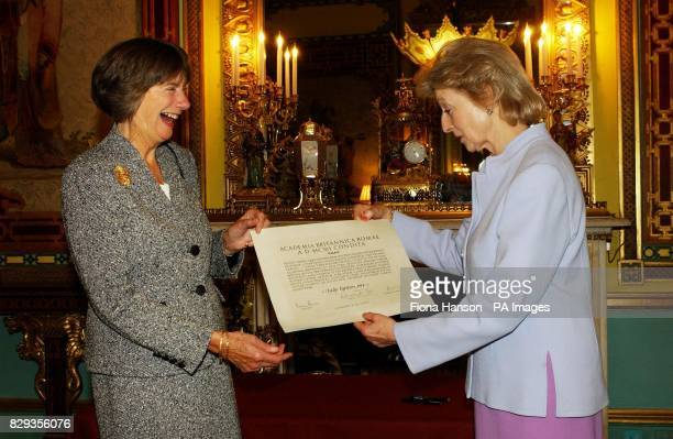 Princess Alexandra presents an Honorary Fellowship Certificate for the British School at Rome to Lady Caroline Egerton during a private reception at...