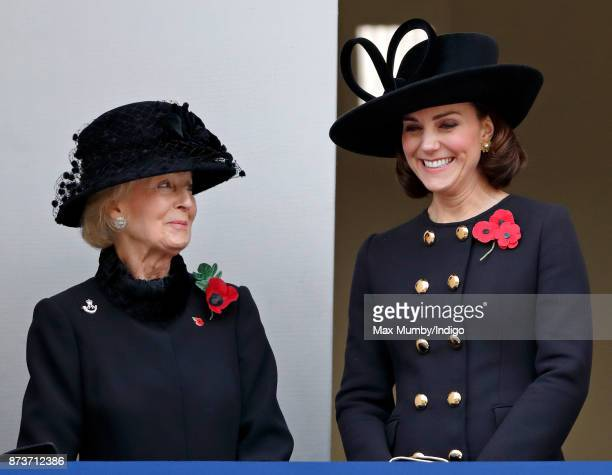 Princess Alexandra The Honourable Lady Ogilvy and Catherine Duchess of Cambridge attend the annual Remembrance Sunday Service at The Cenotaph on...