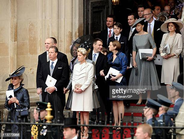 Princess Alexandra Viscount David Linley Viscountess Serena Linley Zara Phillips Mike Tindall Lady Sarah Chatto exit Westminster Abbey after the...
